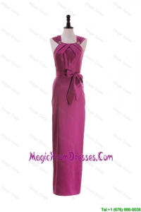 Cheap Straps Long Prom Dresses with Beading and Bowknot