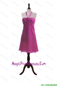 Custom Made Hand Made Flowers Fuchsia Short Prom Dresses