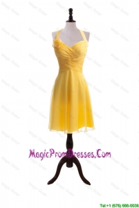 Discount 2016 Hand Made Flower and Ruching Short Yellow Prom Dresses