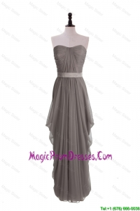 Discount Grey Long Prom Dresses with Ruching and Belt