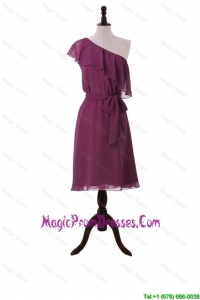 Discount Ruffles and Sashes One Shoulder Short Prom Dresses in Burgundy