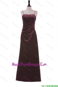 Discount Spaghetti Straps Ruching Long Prom Dresses in Burgundy