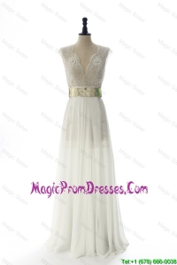 Discount Style White Long Prom Dresses with Beading and Belt for 2016