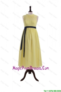 Pretty High Neck Tea Length Prom Dresses with Sashes