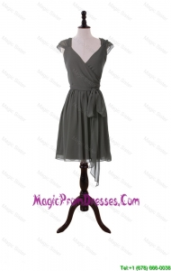 discount V Neck Grey Short Prom Dresses with Sashes