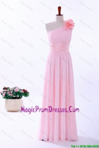 Custom Made Empire One Shoulder Hand Made Flowers Formal Prom Dresses in Baby Pink