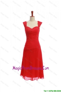 Exquisite Short Ruching and Appliques Prom Dresses in Red