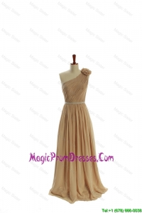 Gorgeous Belt and Hand Made Flower One Shoulder Prom Dresses