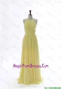 Simple 2016 Scoop Chiffon Yellow Prom Dresses with Sweep Brain