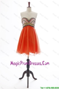 The Brand New Beading Orange Red Short Prom Dress for 2016