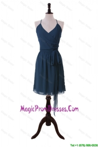Brand New Halter Top Sashes Short Prom Dresses in Navy Blue