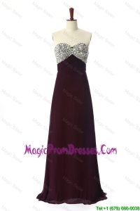 Formal 2016 Sweep Train Brown Prom Dresses with Beading
