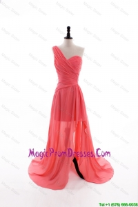 Formal Column One Shoulder Watermelon Prom Dresses with Ruching