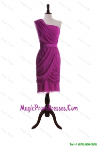 Formal Custom Made Ruching and Belt Short Prom Dresses in Fuchsia
