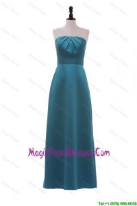 Formal Strapless Ruching and Bowknot Long Prom Dress in Teal
