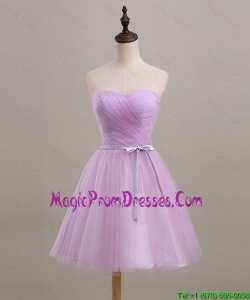 Pretty Ruching and Belt Short Prom Dresses in Lilac for 2016