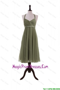 Simple Belt Halter Top Short Prom Dresses in Olive Green