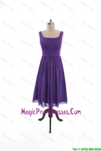 2016 Fall Perfect Square Short Prom Dresses with Belt in Purple