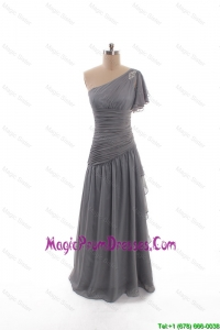 2016 Winter Column Asymmetrical Prom Dresses with Beading in Grey