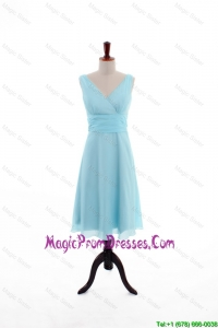 Custom Made Empire V Neck Knee Length Prom Dresses in Light Blue