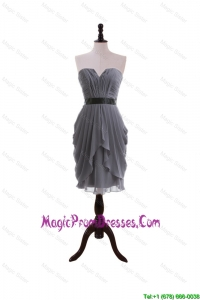 Formal Column Sweetheart Prom Dresses with Belt in Grey
