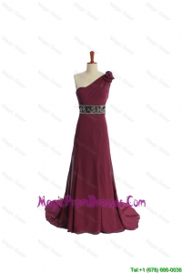 Recommend One Shoulder Burgundy Prom Dress with Beading and Belt