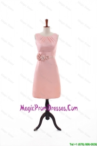 Beautiful Empire Scoop Prom Dresses with Hand Made Flowers in Peach