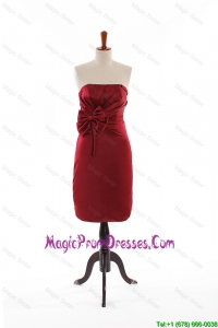 Modest Bowknot Short Prom Dresses in Wine Red