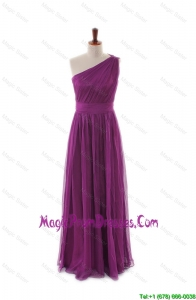 Recommend Luxurious One Shoulder Pleats and Belt Long Prom Dresses