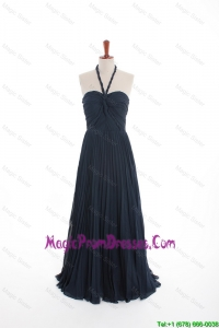 Recommend New Style Navy Blue Long Prom Dresses with Pleats for 2016