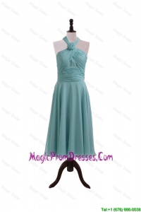 Simple Ruching and Hand Made Flower Halter Top Prom Dresses for Homecoming