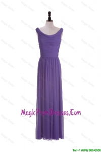 2016 Most Popular Scoop Eggplant Purple Prom Dresses with Ruching