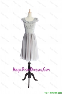 Custom Made Scoop Short Ruffles and Pleats Prom Dress in Grey
