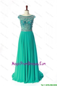 New Style Bateau Beading Brush Train Prom Dress in Turquoise