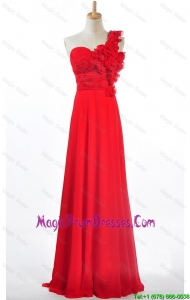 Recommend Custom Made Empire One Shoulder Prom Dresses with Hand Made Flowers