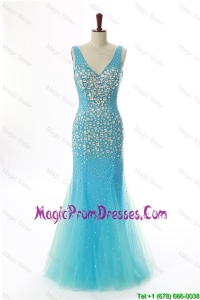 Sexy Mermaid V Neck Backless Beading Long Prom Dresses for 2016