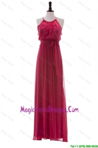 Simple 2016 Scoop Long Ruching Prom Dresses in Red