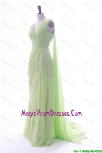 Simple Empire V Neck Ruching and Pleats Prom Dresses with Watteau Train