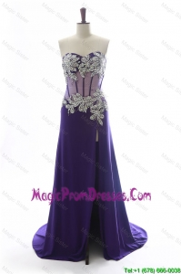 Simple Gorgeous Sweetheart Beading Brush Train Prom Dresses in Purple