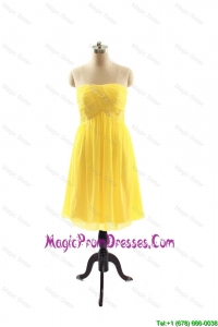 Simple New Style Yellow Short Prom Dresses with Ruching for 2016