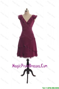 The Super Hot V Neck Burgundy Short Prom Dresseswith Ruffles