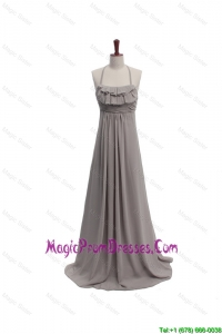 2016 Fall Empire Halter Top Ruching Prom Dresses with Brush Train