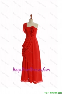 Beautiful One Shoulder Red Prom Dresses with Hand Made Flowers