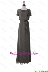 Classic Empire Grey Long Prom Dresses with Sashes for 2016