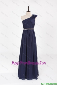 Comfortable Empire Asymmetrical Beaded Prom Dresses with Belt