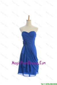 Customize Hand Made Flowers and Ruching Short Prom Dresses in Royal Blue