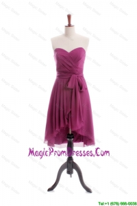 Gorgeous 2016 A Line High Low Burgundy Prom Dresses with Sashes