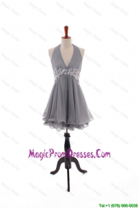 Simple Custom Made Halter Top Prom Dresses with Appliques and Beading