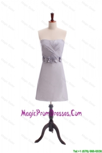 Simple Customize Beading and Hand Made Flowers Short Prom Dress in Grey