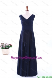 Simple Empire V Neck Prom Dresses in Navy Blue